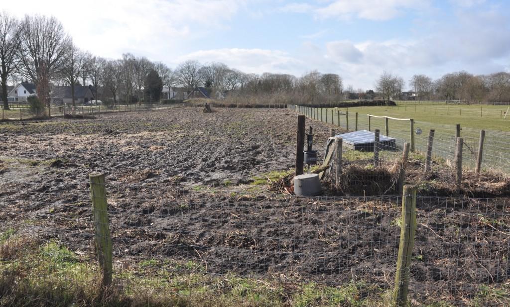 Op dit veld zijn straks weer veel kinderen enthousiast bezig op hun tuintjes van 4x2 meter. Nu ziet het er nog wat triest uit nadat de mest is uitgereden, maar straks is de grond vruchtbaar en gaan ze trots met tassen vol eigen groenten naar huis!